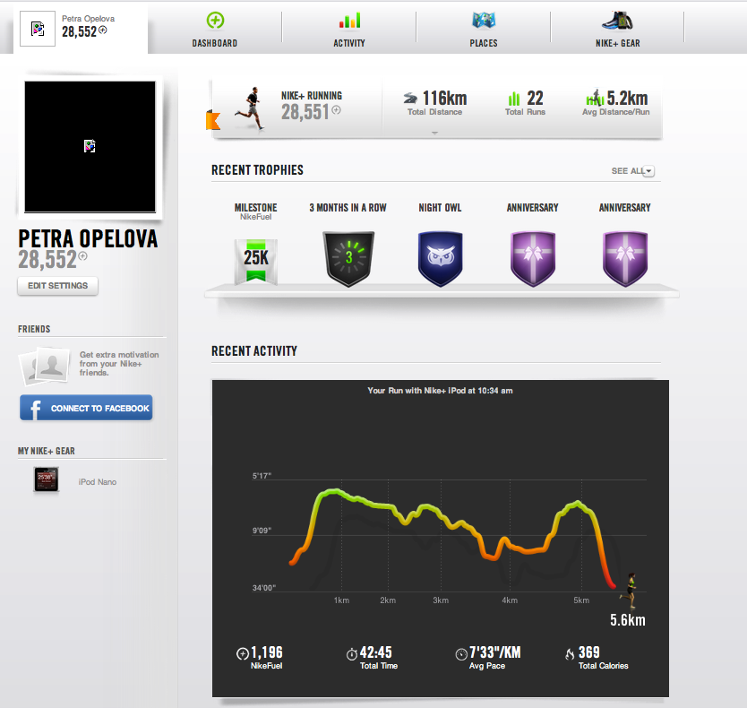Screenshot of Nike+ gamified system