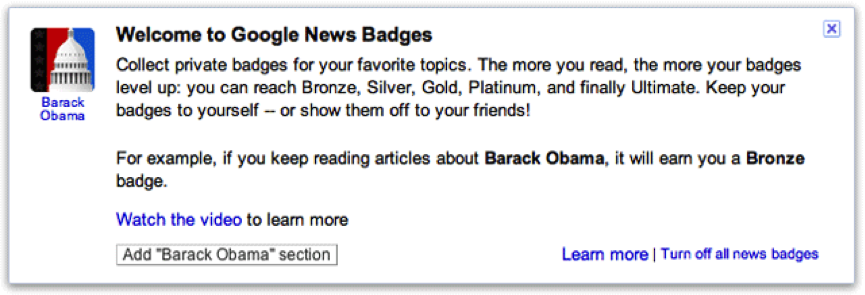 Google News using badges