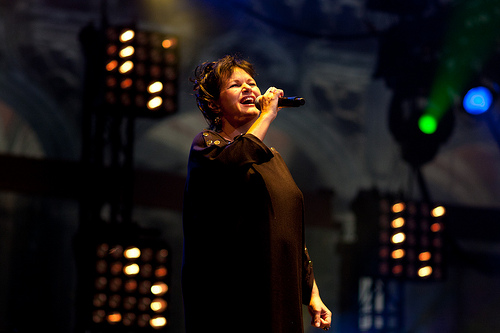 Belgian singer Maurane at the festivities on the Wallonia-Brussels union